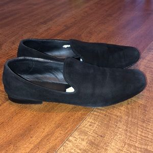 VINCE Bray black suede loafers 37/US 7